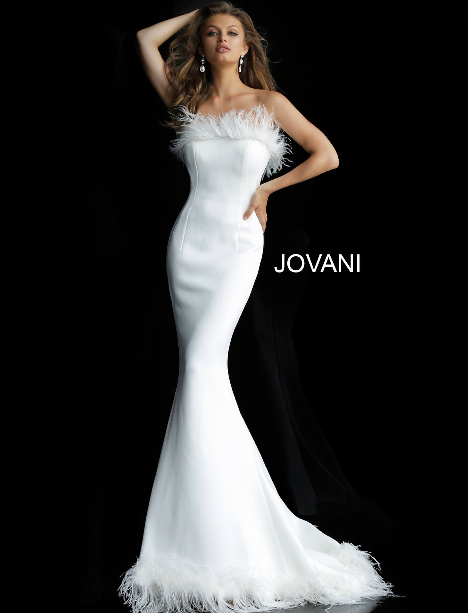 2f3d4444ad00 Jovani 63891 Feather Neck Evening Gown