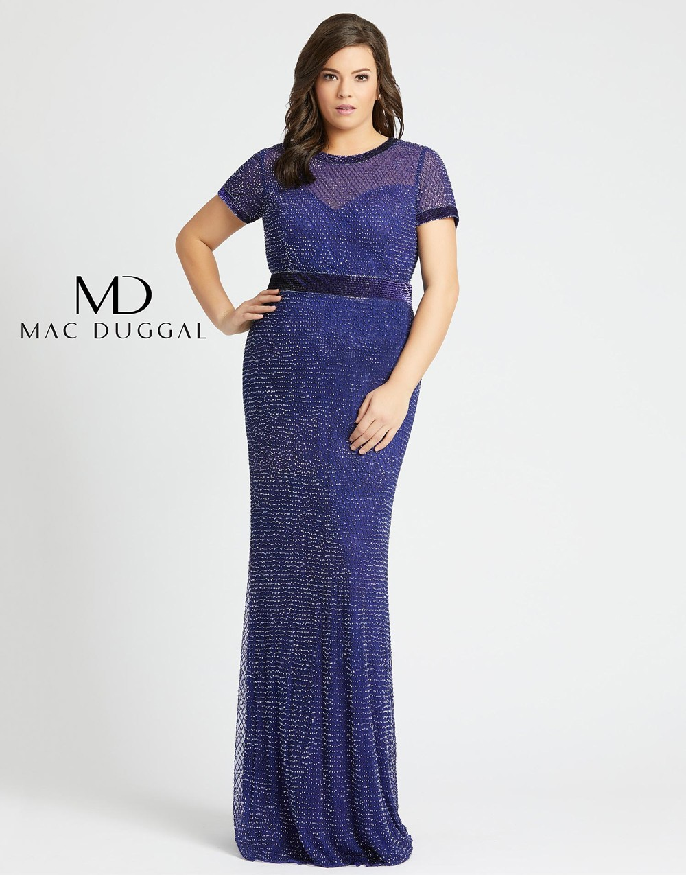 Mac Duggal 4844F Short Sleeve Plus Size Dress