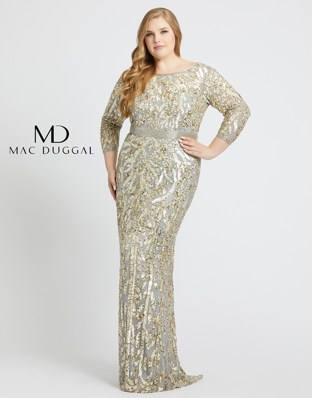 Mac Duggal 4857F V-Back Sequin Plus Size Gown