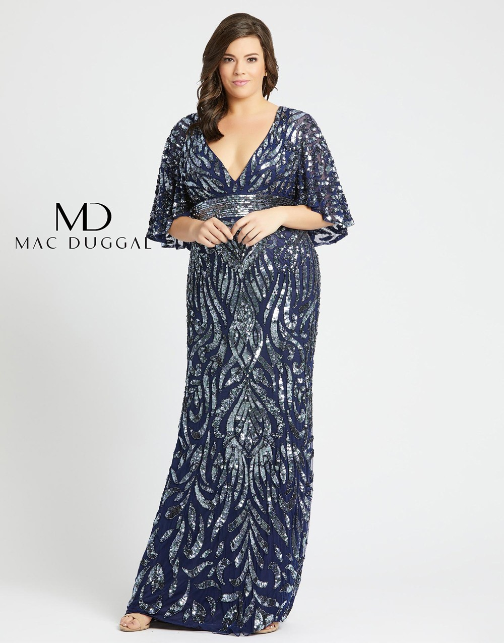 Mac Duggal 4858F Cape Sleeve Plus Size Evening Gown