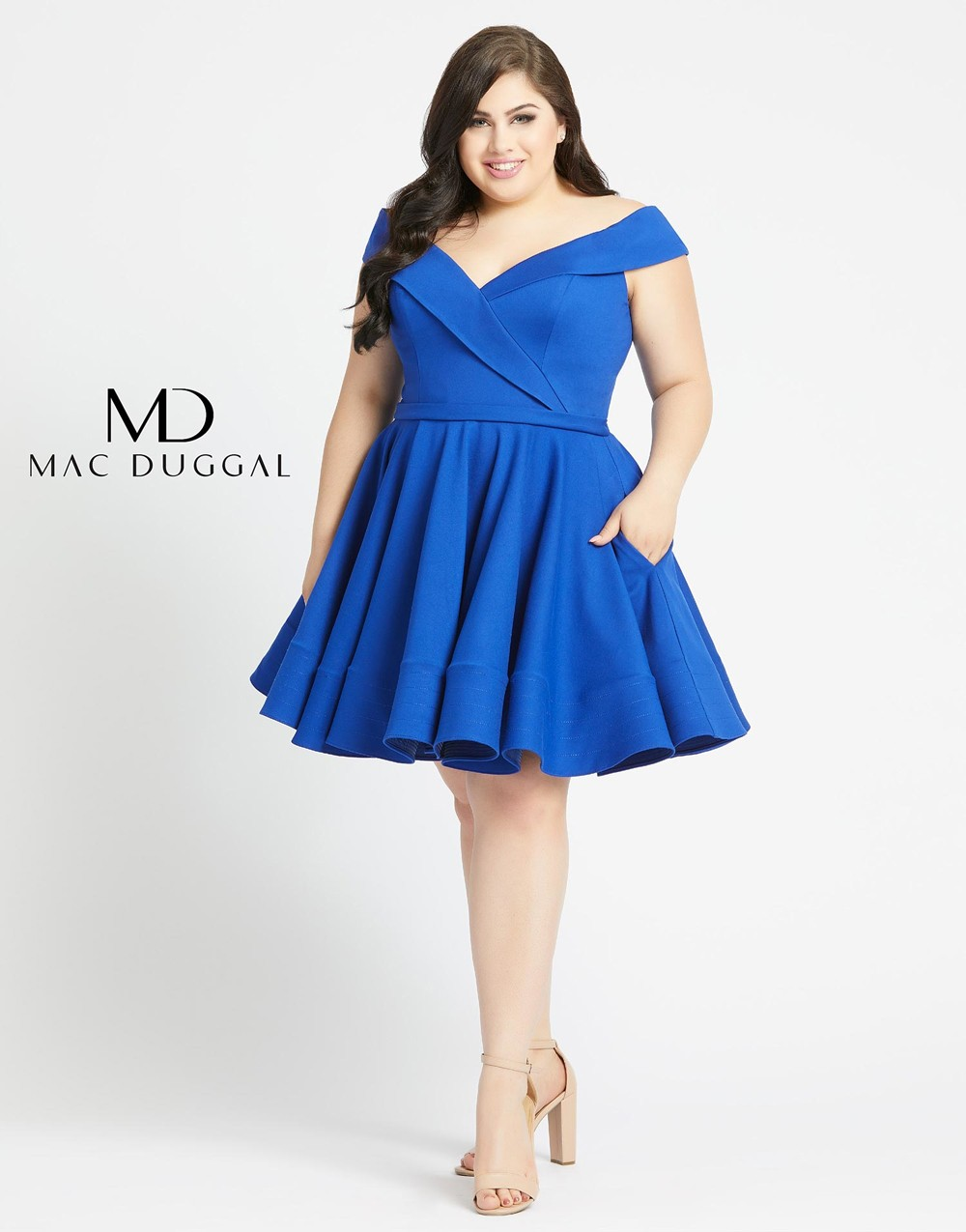Mac Duggal 48887F Off The Shoulder Plus Size Short Dress