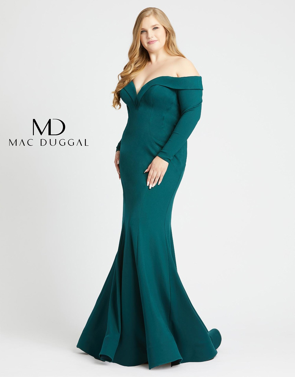 Mac Duggal 48893F Off The Shoulder Plus Size Formal Dress