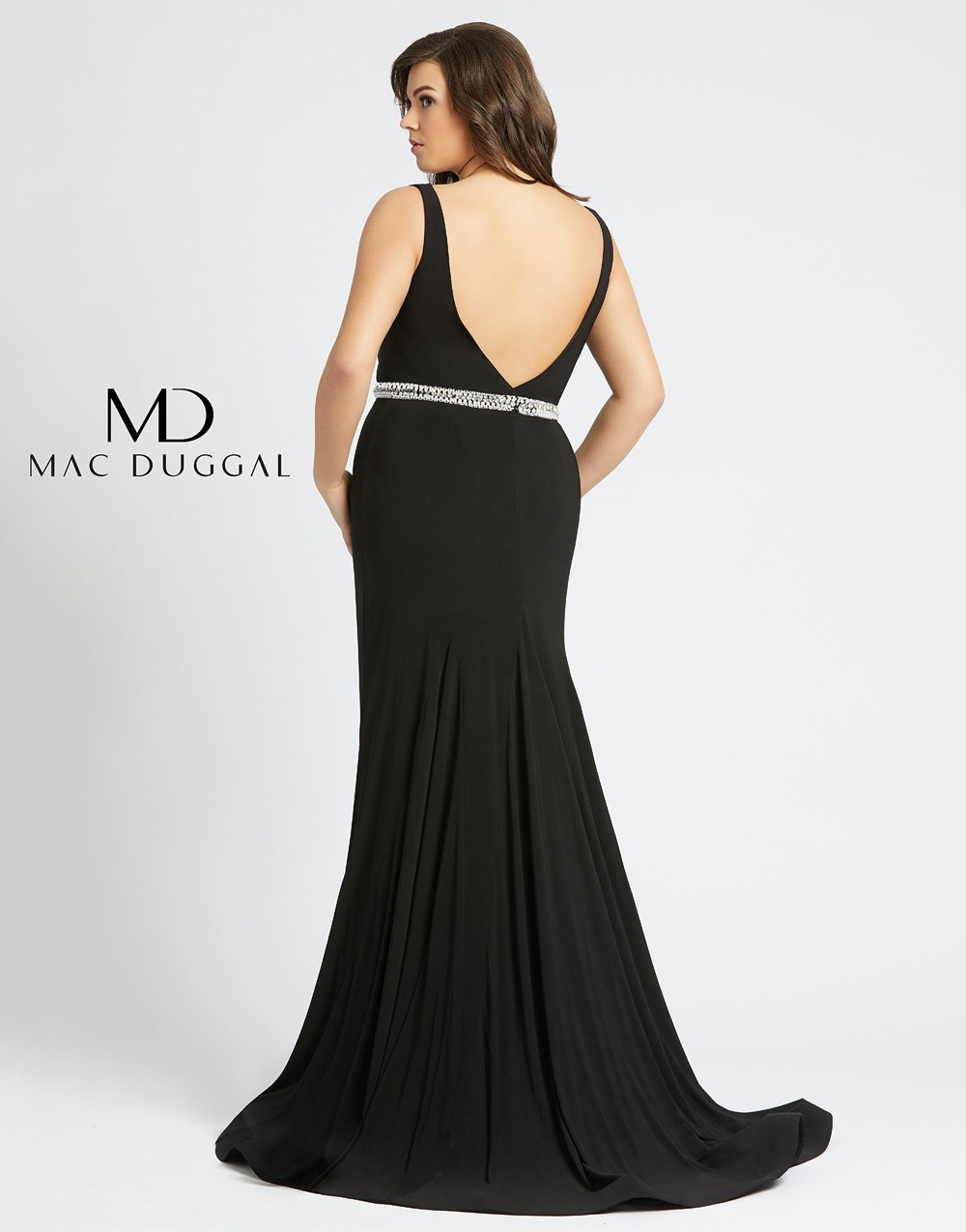 Mac Duggal 66808F Plunging Neck Plus Size Formal Gown