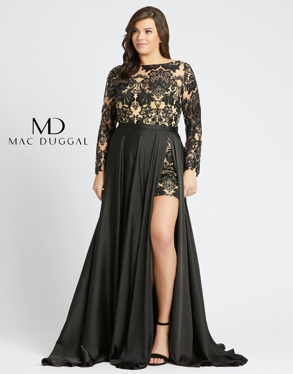 Mac Duggal 66809F Long Sleeve with Overskirt Plus Size Formal Romper