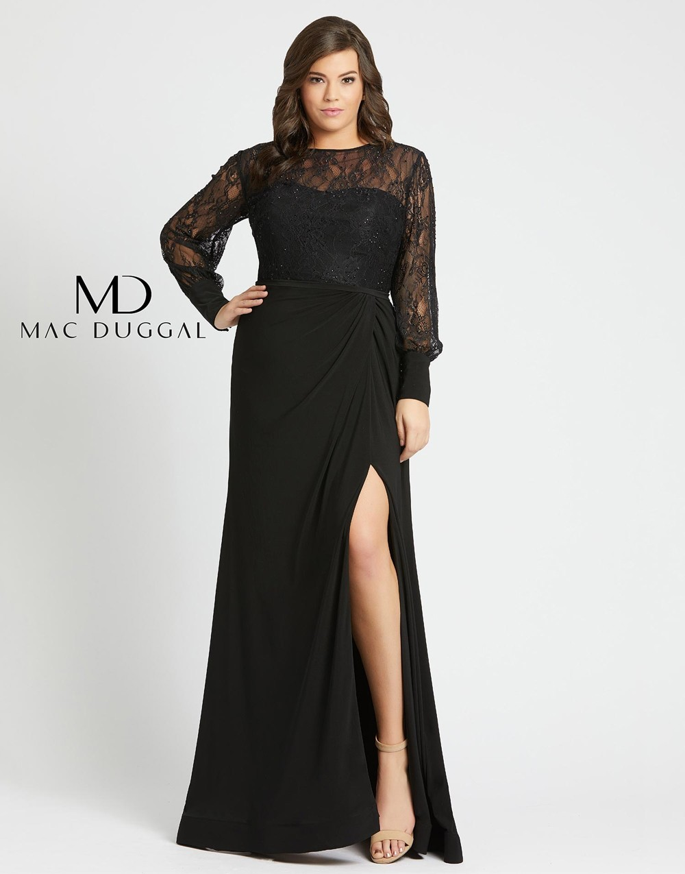 Mac Duggal 67143F Lace Bodice Plus Size Mother of the Bride Gown