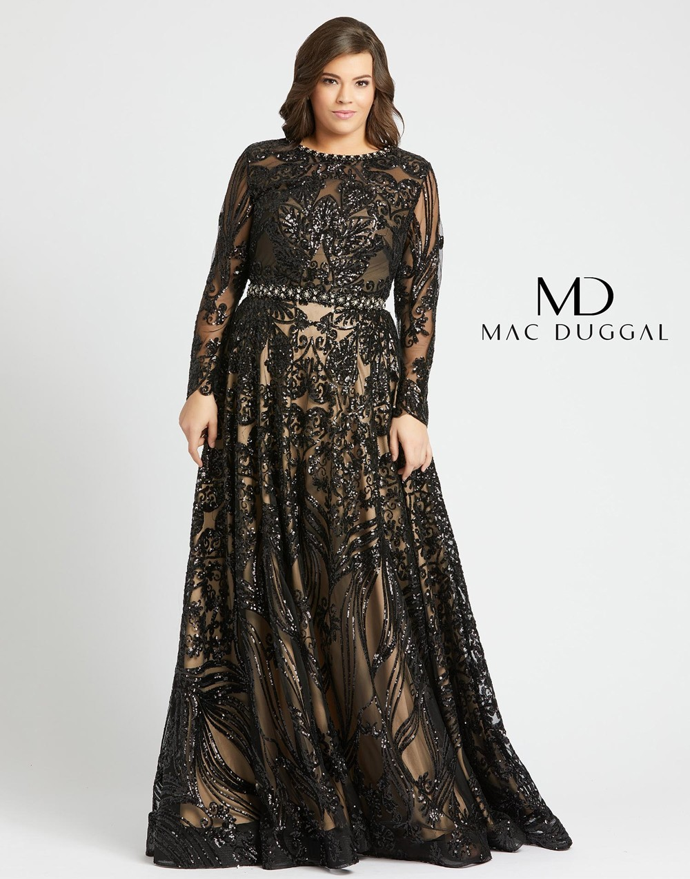 Mac Duggal 67148F Long Sleeve Plus Size Gown