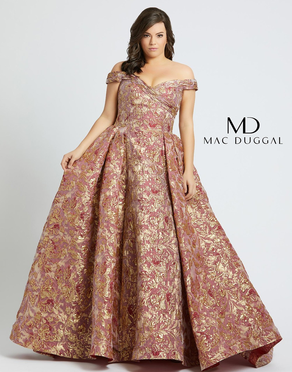 Mac Duggal 67613F Pleated Skirt Plus Size Gown