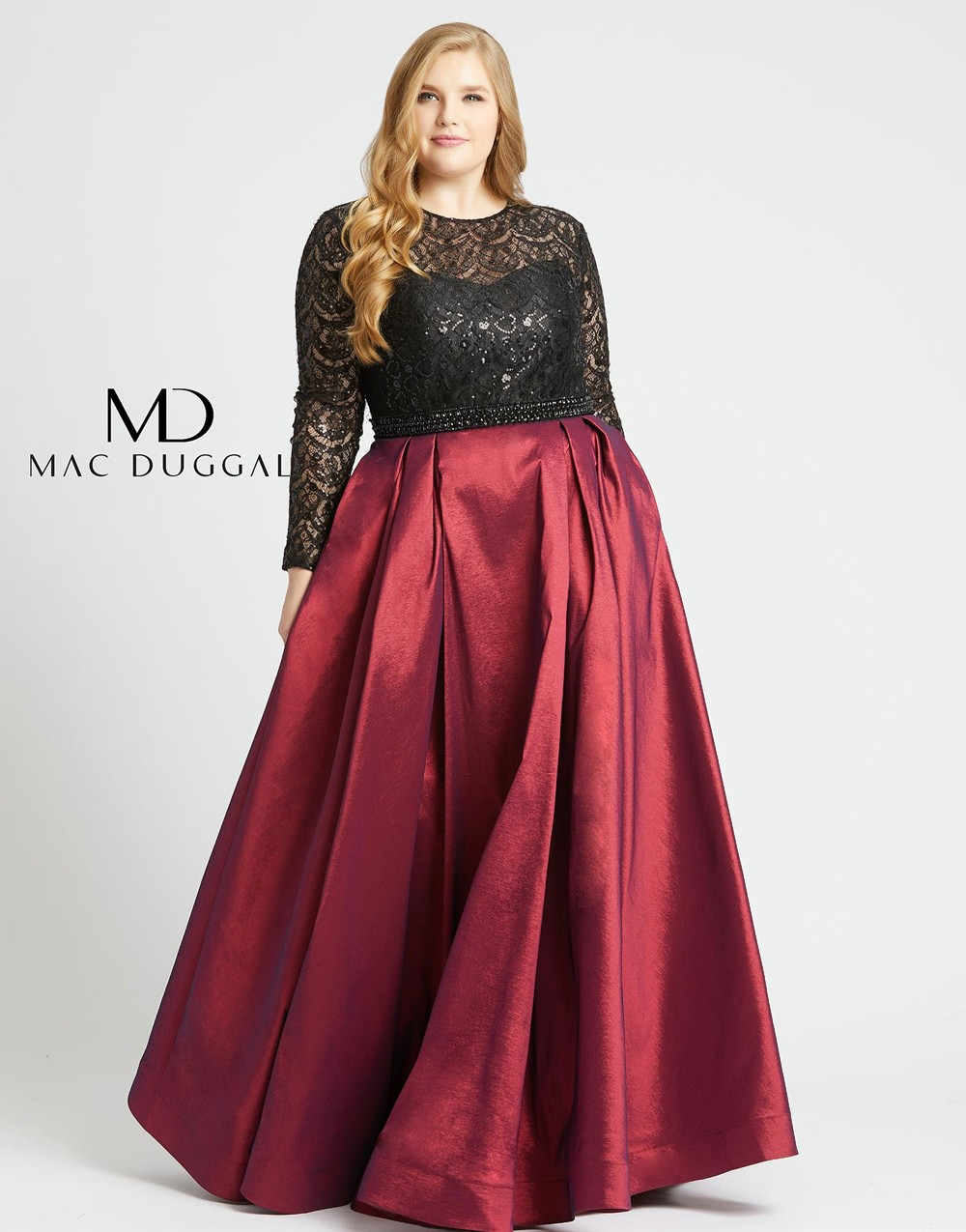 Mac Duggal 77473F Lace Bodice Plus Size Dress