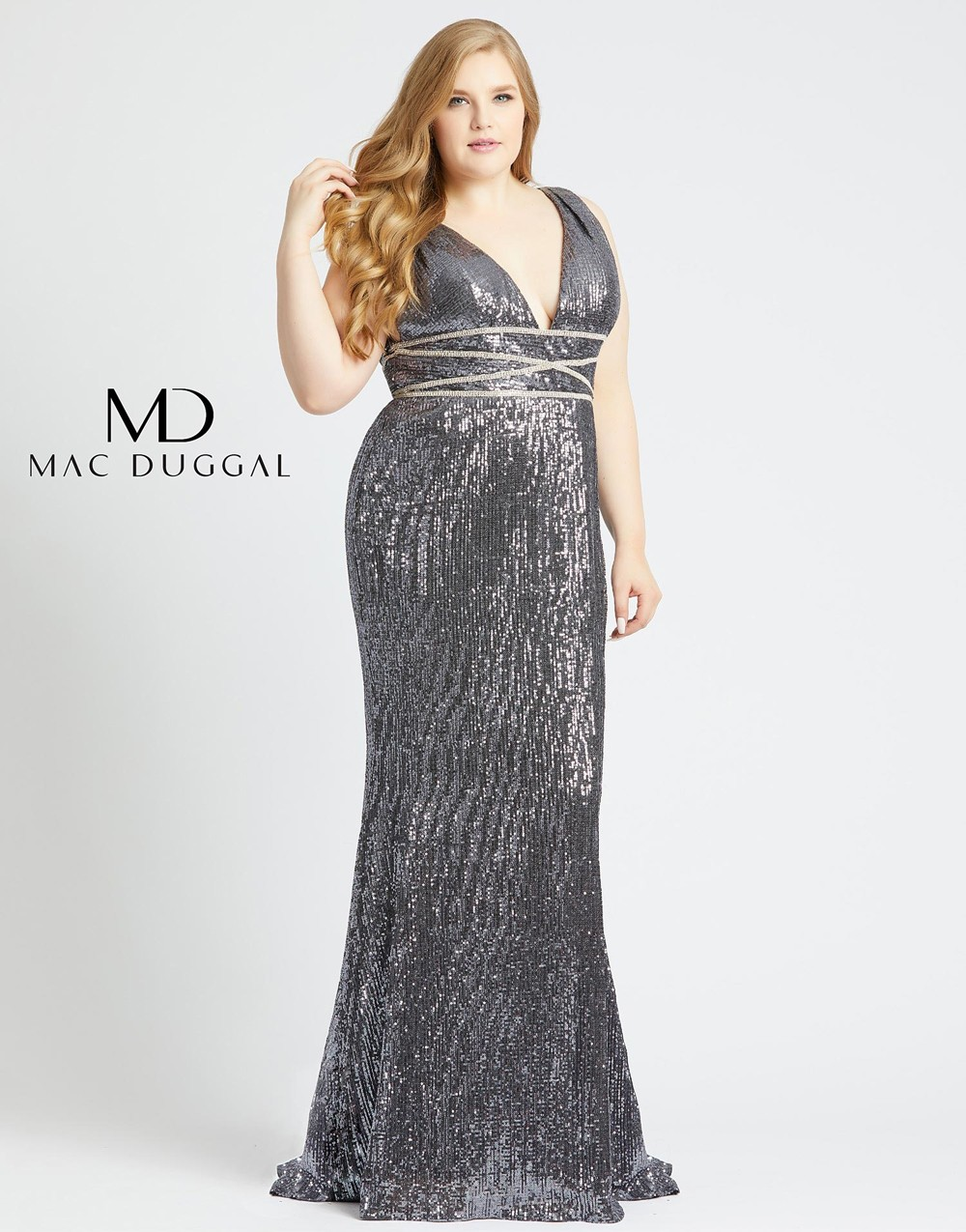 Mac Duggal 77558F Beaded Waist Plus Size Dress