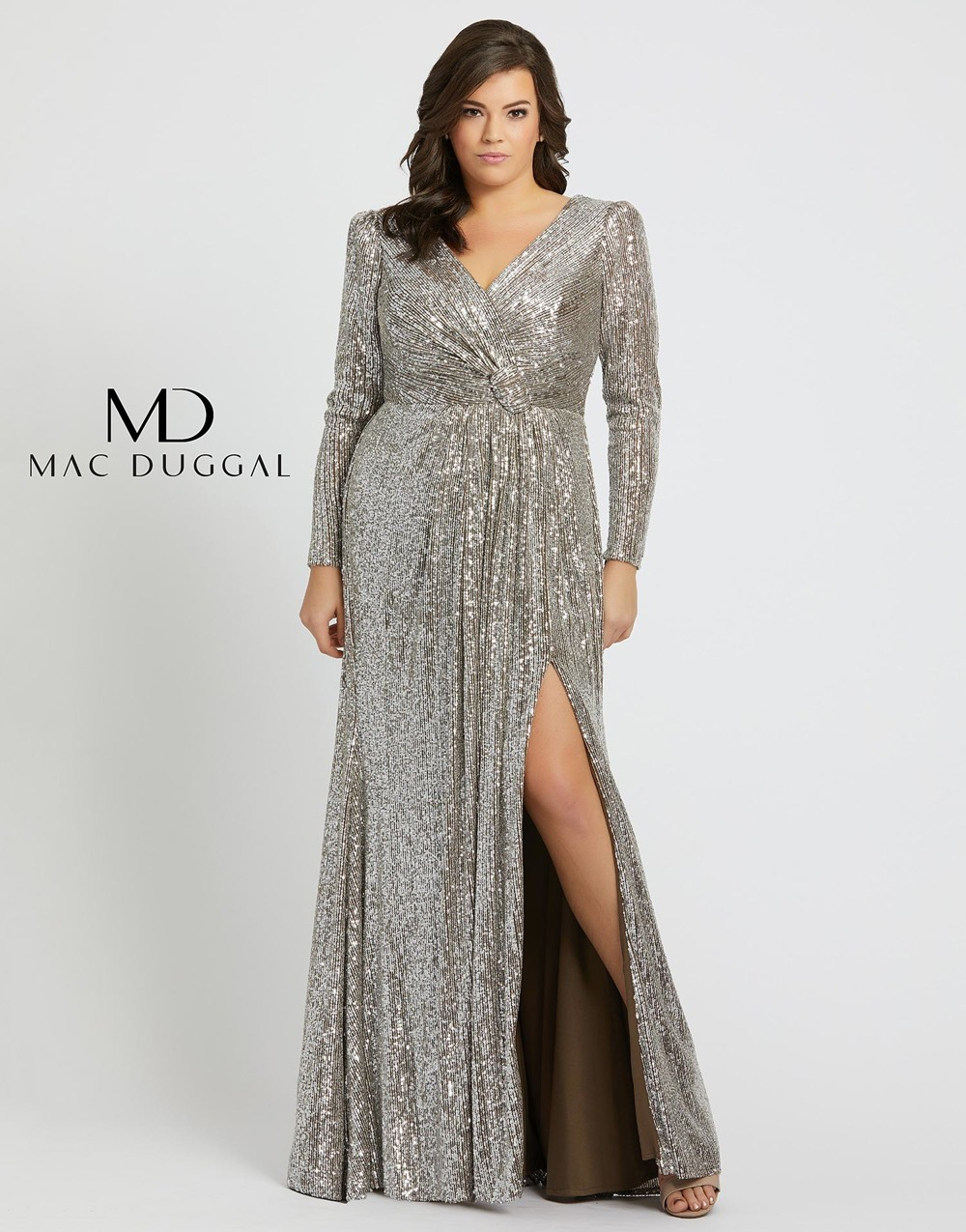 Mac Duggal 77676F Slit Skirt Plus Size Formal Dress