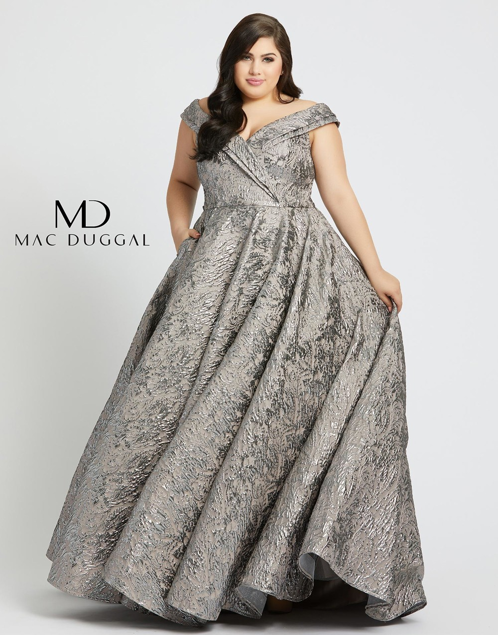 Mac Duggal 77677F Off The Shoulder Plus Size Formal Dress