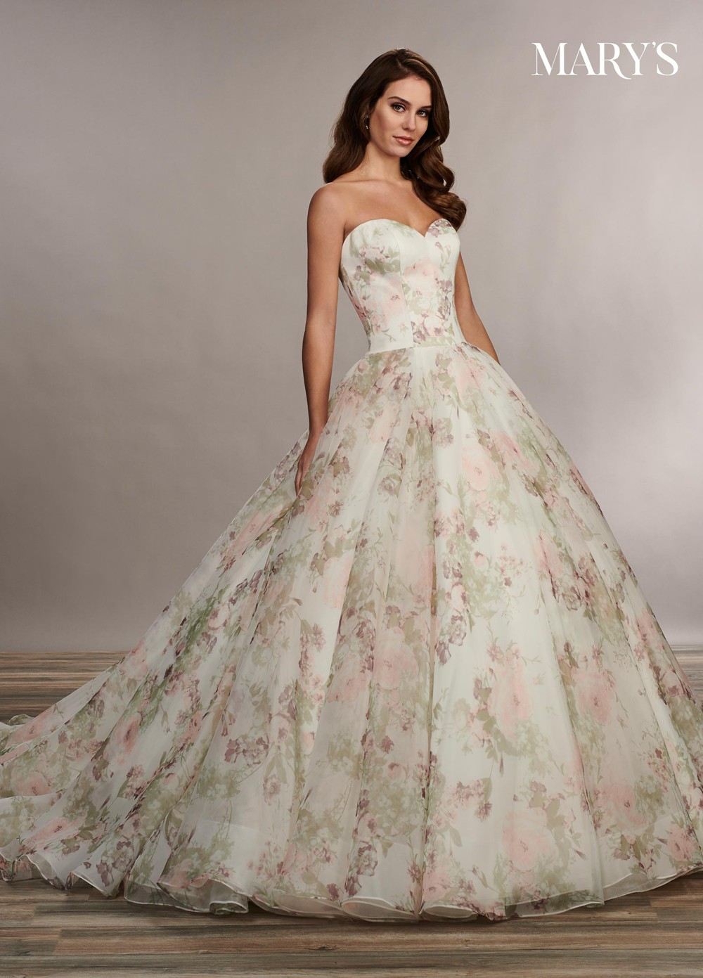 marys bridal mb3071 floral print wedding gown