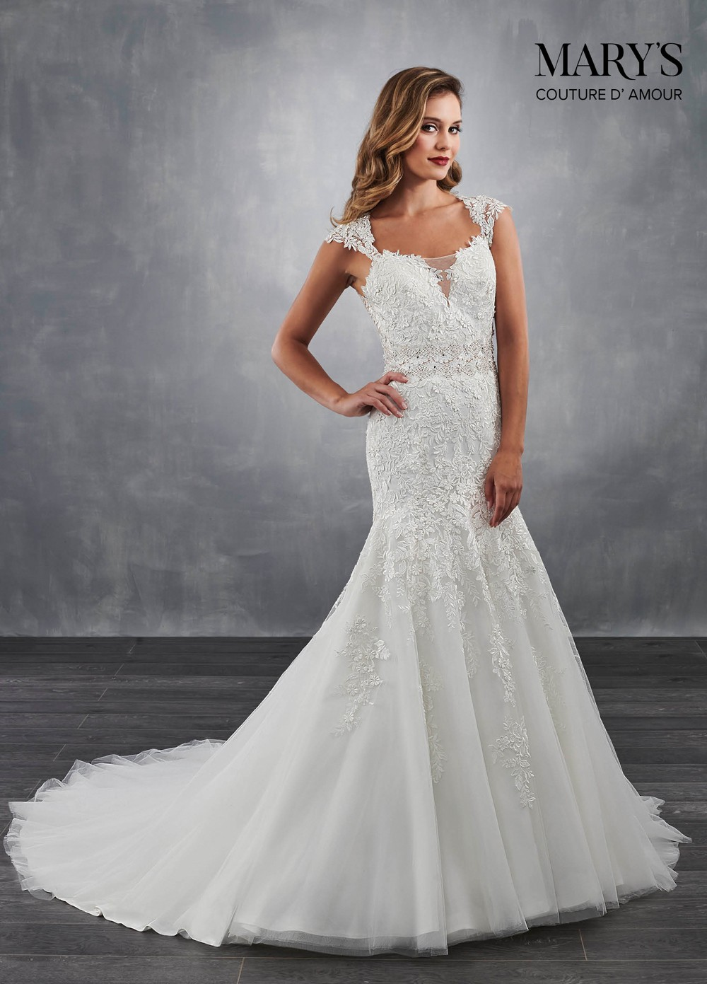 This Marys Bridal Couture D Amour Mb4041 Trumpet Gown Features Cap Sleeves Edging The Notched Sweetheart Neckline And On Trimmed