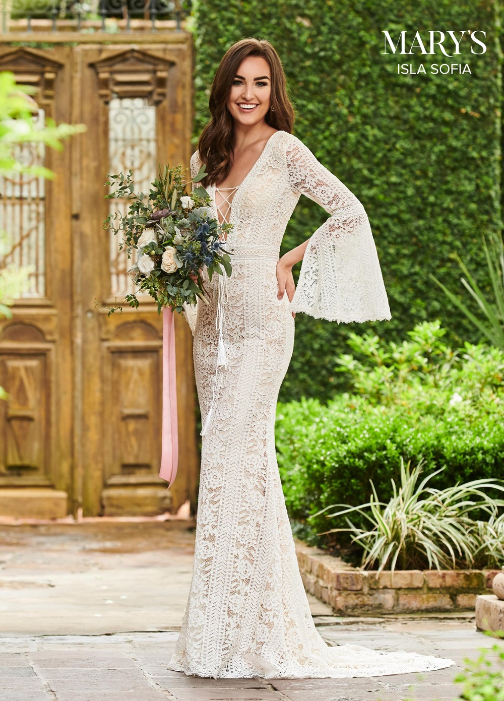 marys bridal mb5014 bell sleeve wedding gown