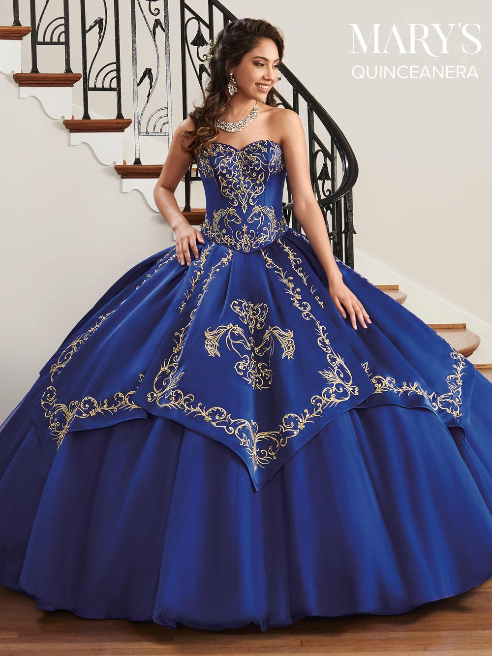 Marys Bridal MQ2044 Gold Embroidered Quinceanera Dress