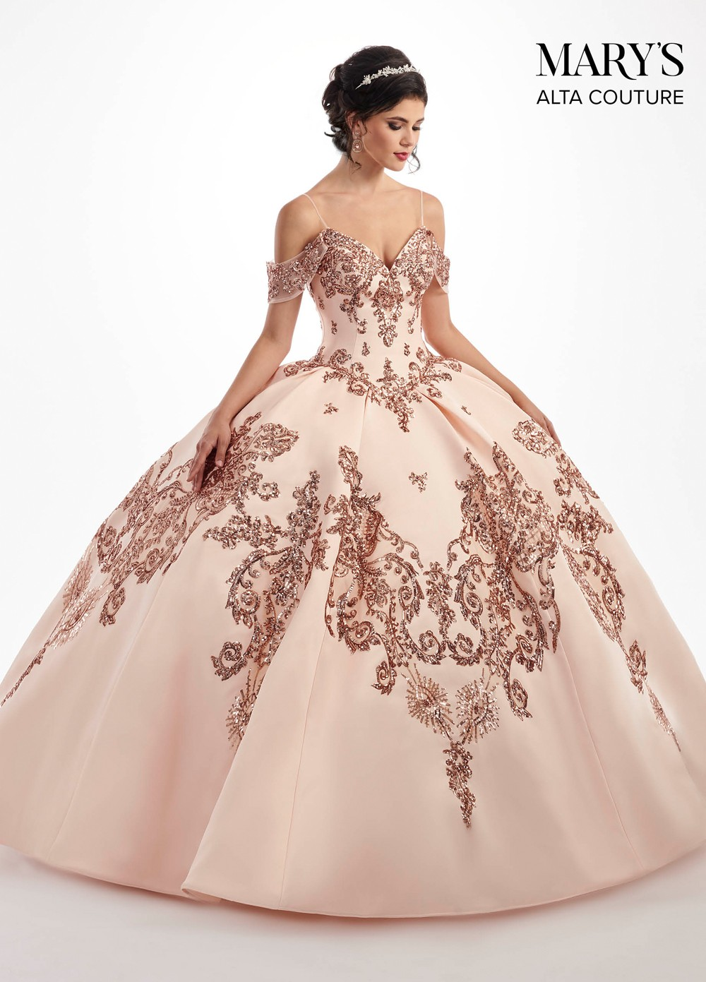 Marys Bridal MQ3025 Cold Shoulder Quinceanera Dress