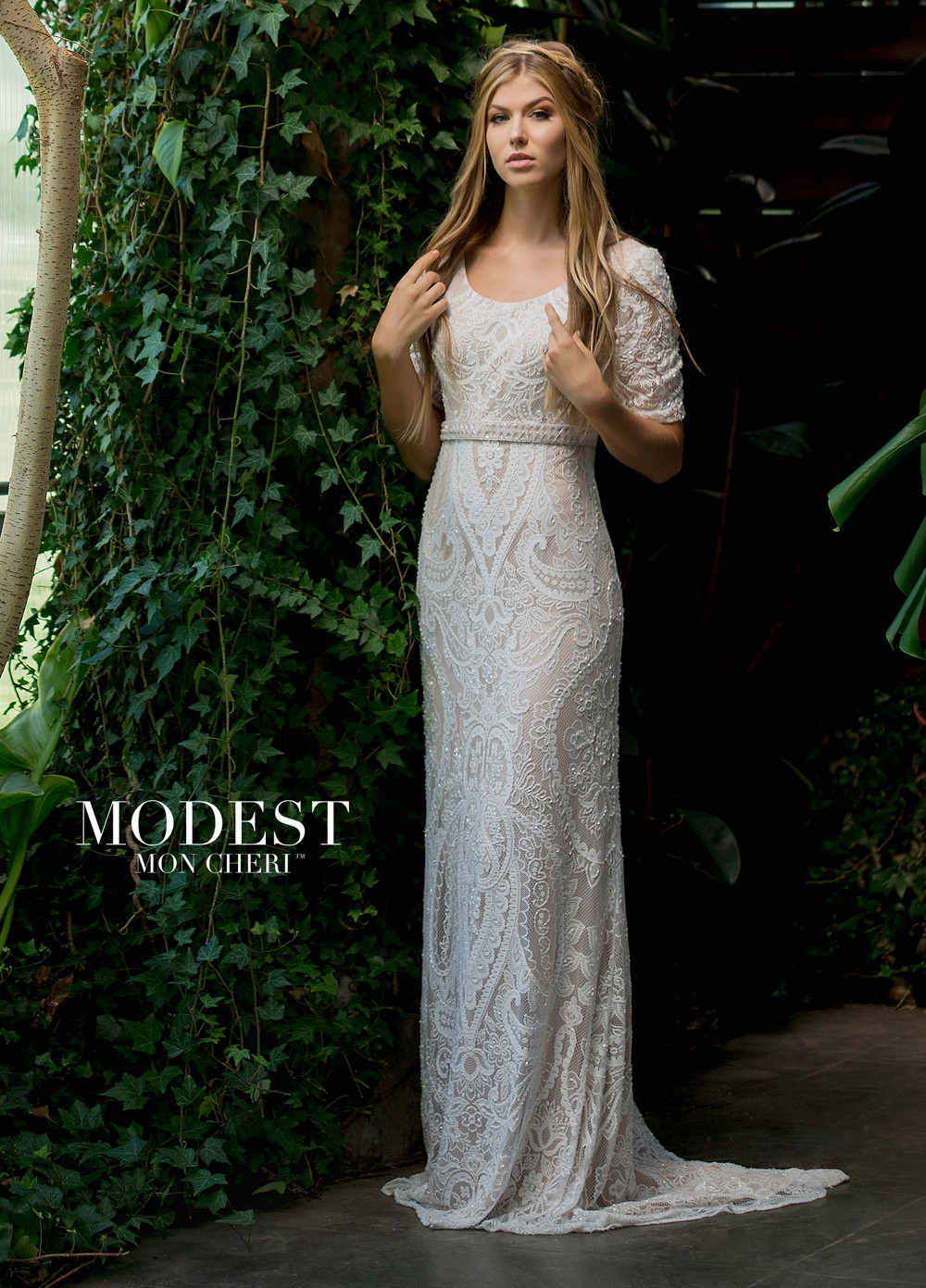 Modest Bridal By Mon Cheri Tr11833 Short Sleeve Wedding Dress