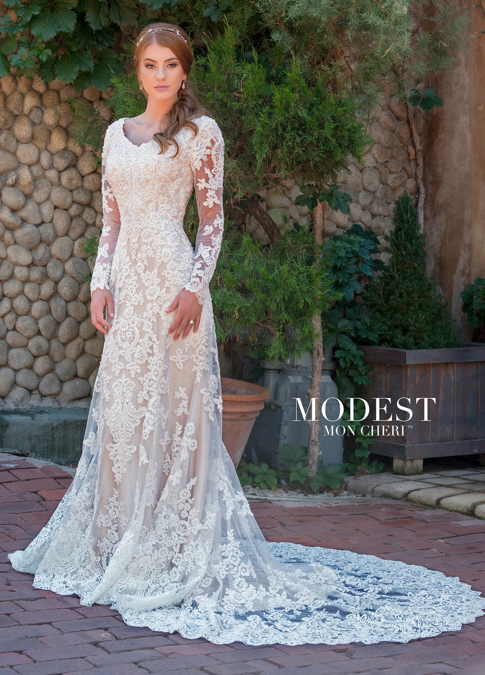 23bc1a71e1f5 Modest Bridal by Mon Cheri TR11838 Long-Sleeve Wedding Gown ...