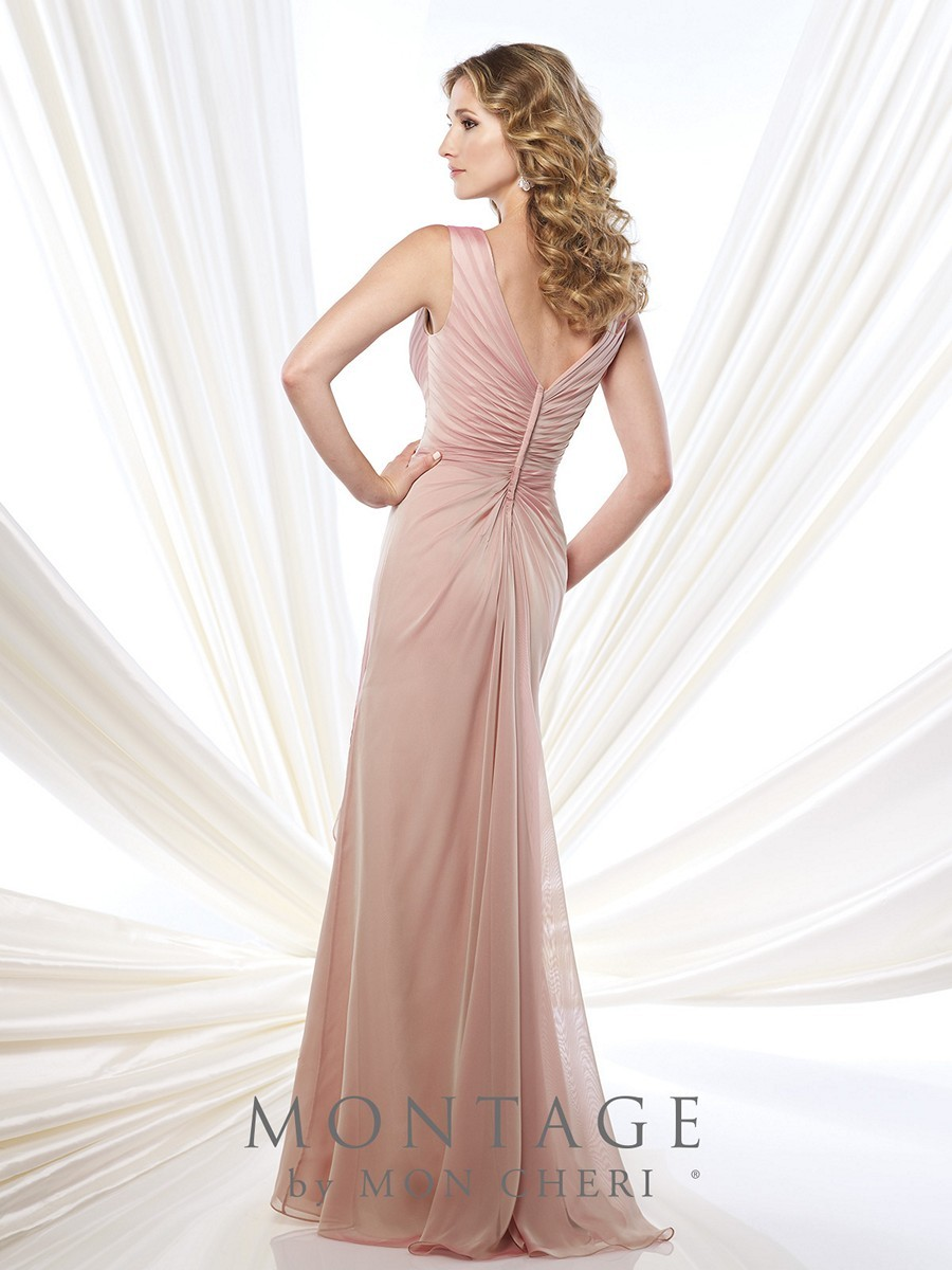 Montage 215907 Dress Two Tone Chiffon Pleated V Neckline