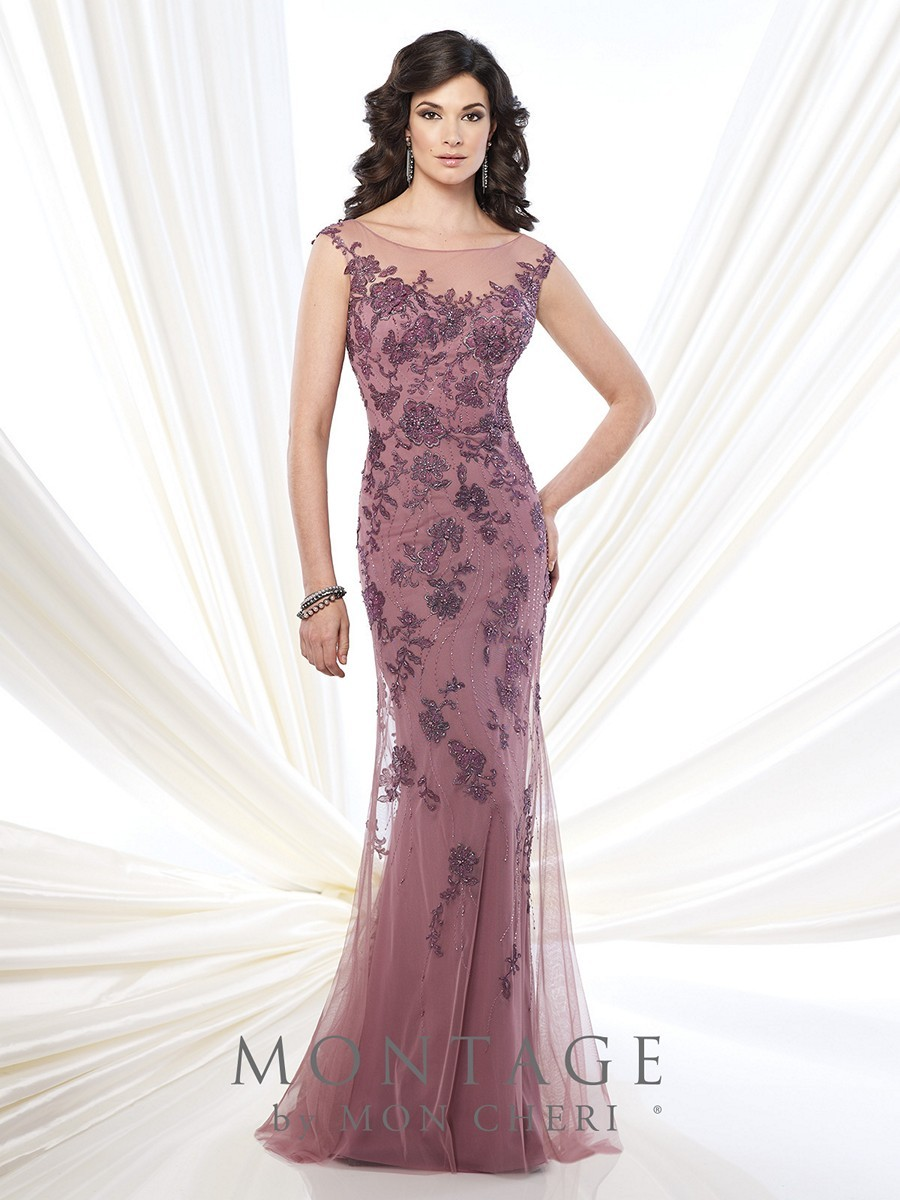 Montage 215913 Sheath Dress Chiffon Tulle Overlay Floral Lace Fit ...