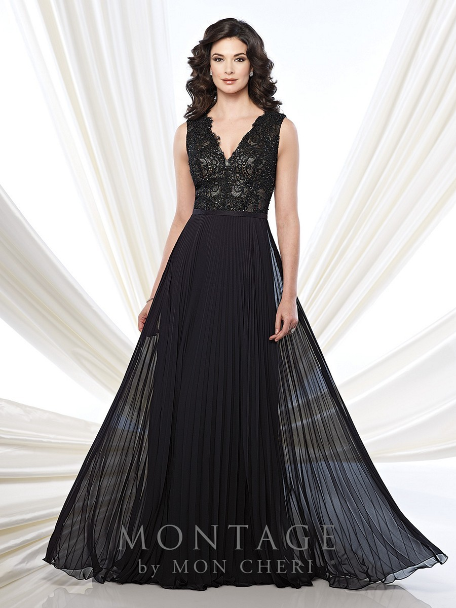 Montage 215915 Dress Chiffon Accordion Pleated V Neck A