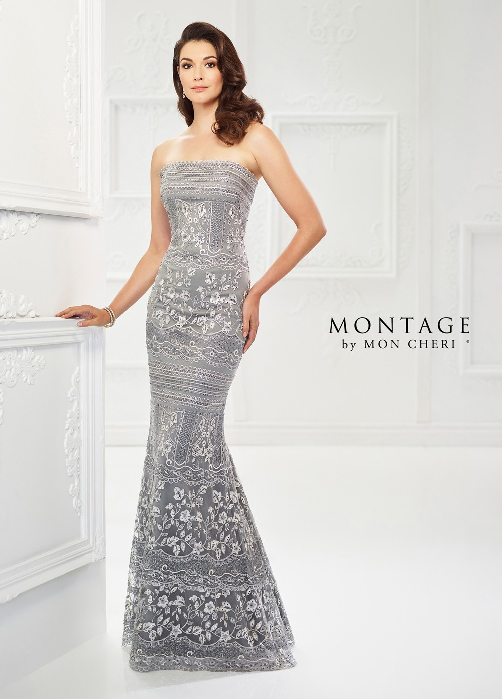 Montage by Mon Cheri 118970 Strapless Evening Gown | MadameBridal.com