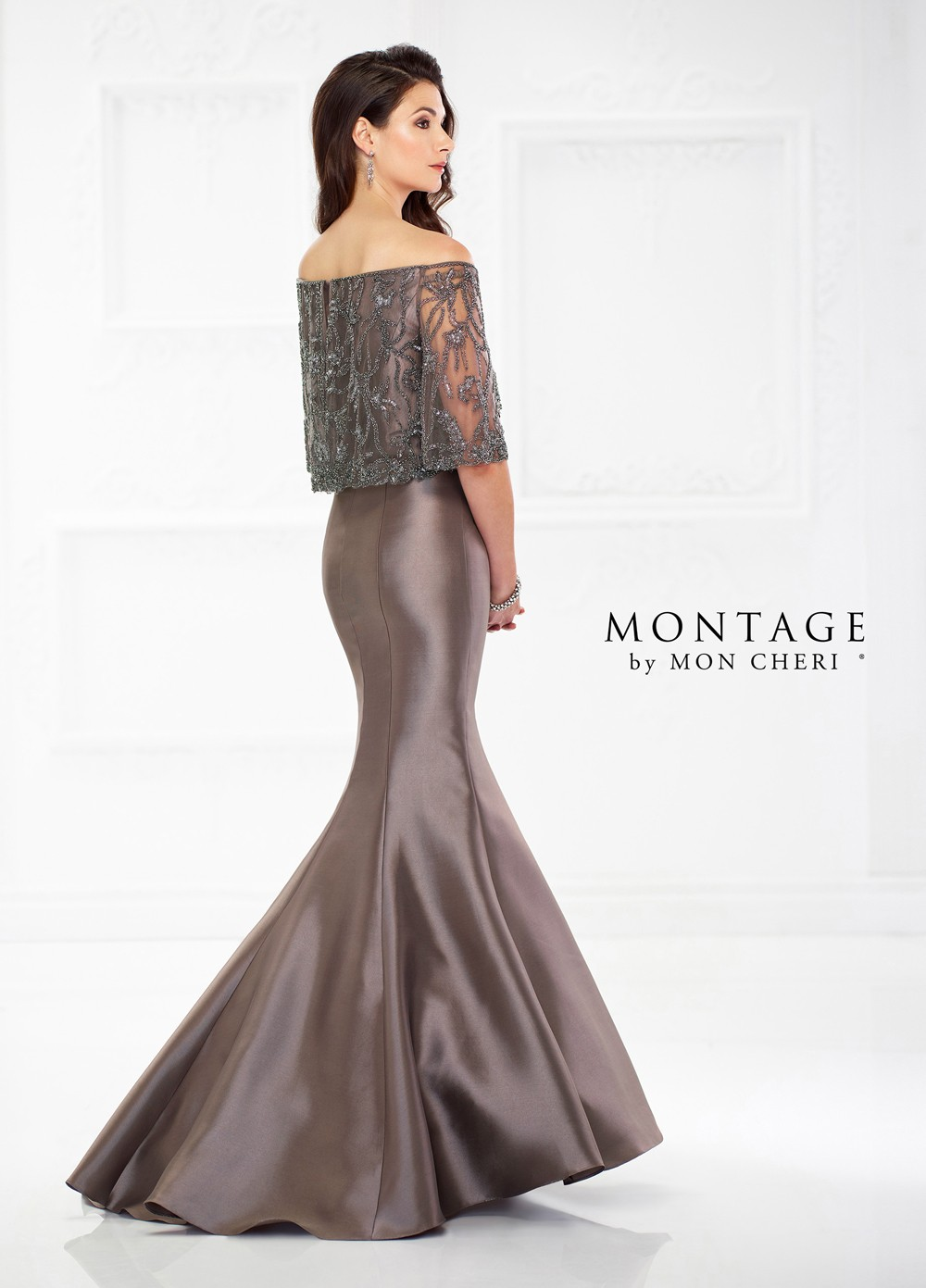 698b5953ce Montage by Mon Cheri 118987 Off-The-Shoulder Mother of Bride Gown ...