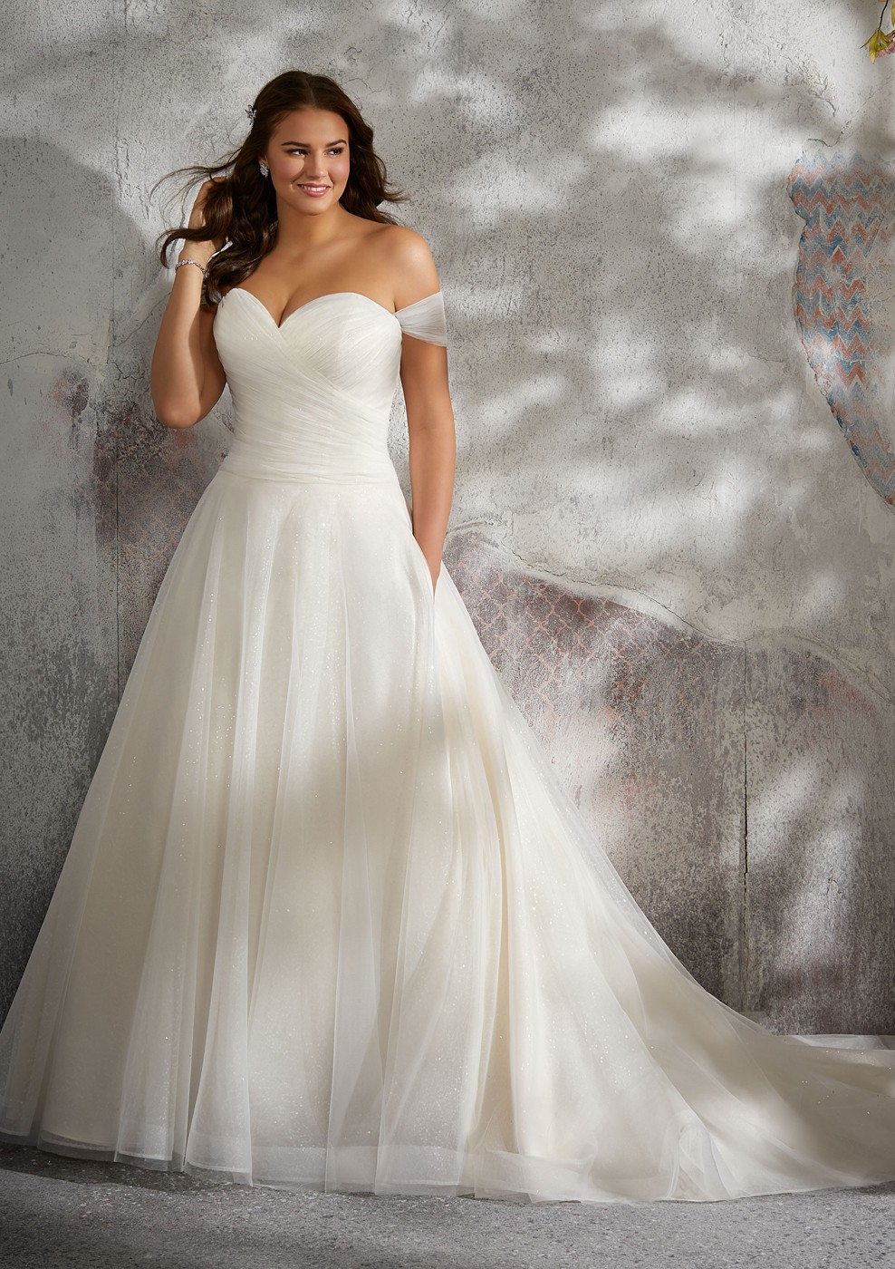 Mori Lee 3245 Lyla Drop Waist Plus Size Wedding Gown