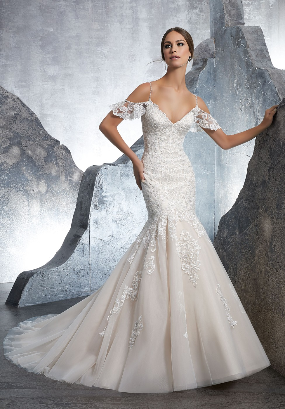 Mori Lee 5601 Keira Cold-Shoulder Trumpet Wedding Dress