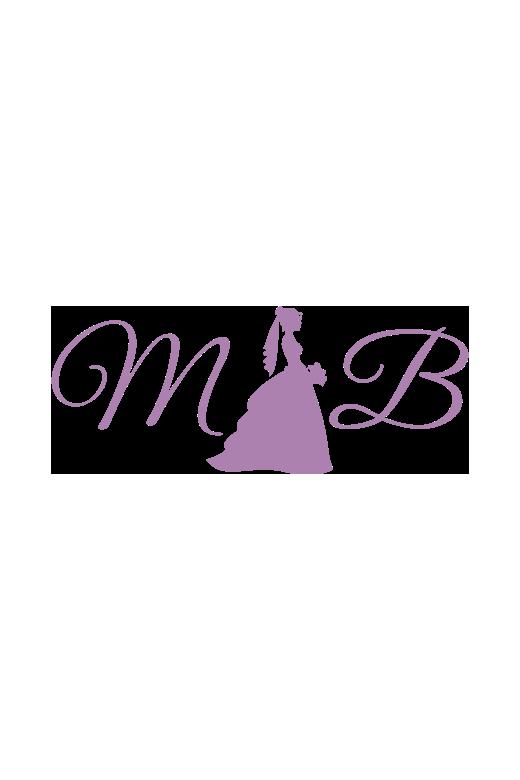 Social Occasions 215811 A Line Dress Tulle Sequin V Neck V