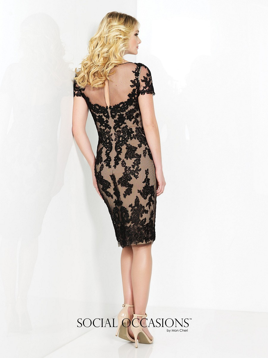 Social Occasions 215821 Dress Tulle Lace Illusion V Neck