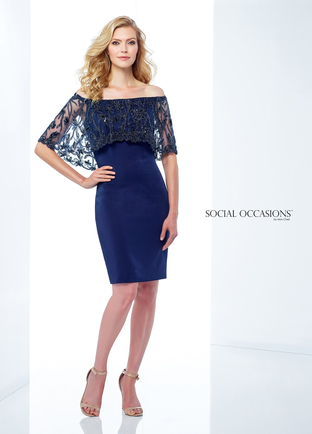 Social Occasions By Mon Cheri 118866 Off The Shoulder Formal Short