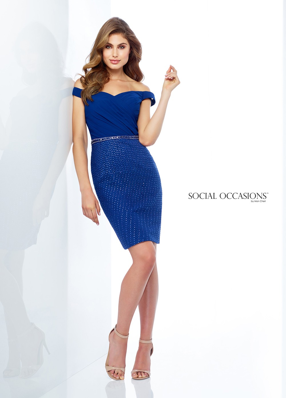 Social Occasions By Mon Cheri 118867 Belted Formal Short Dress