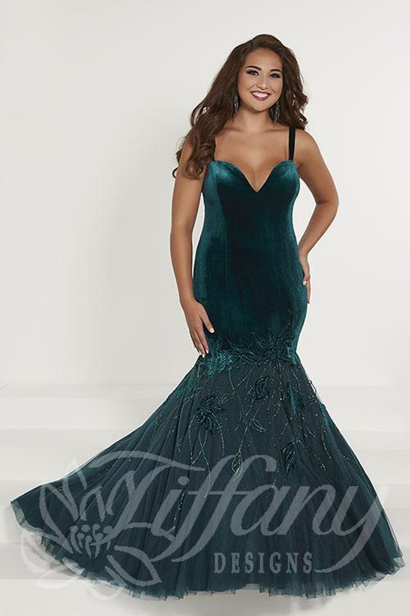 Tiffany Designs 16374 Trumpet-Style Plus Size Prom Dress
