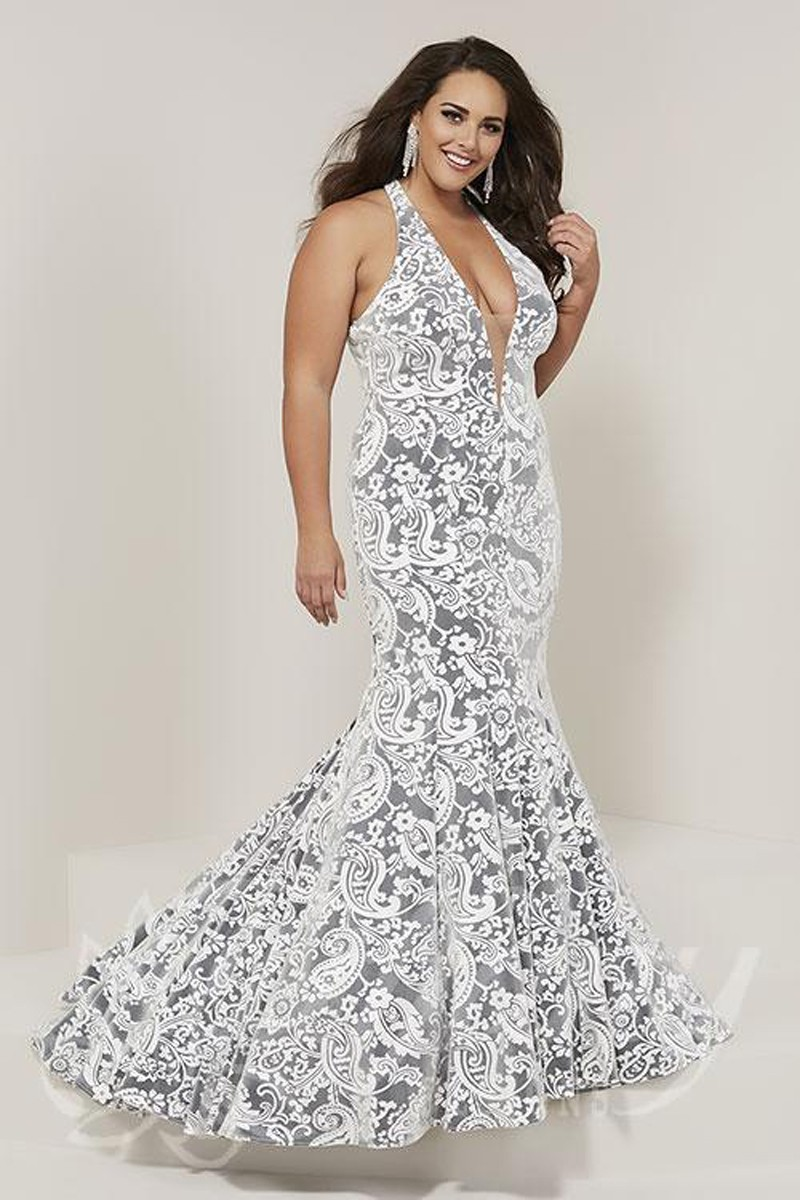 Tiffany Designs 16385 Plunging Neck Plus Size Formal Gown