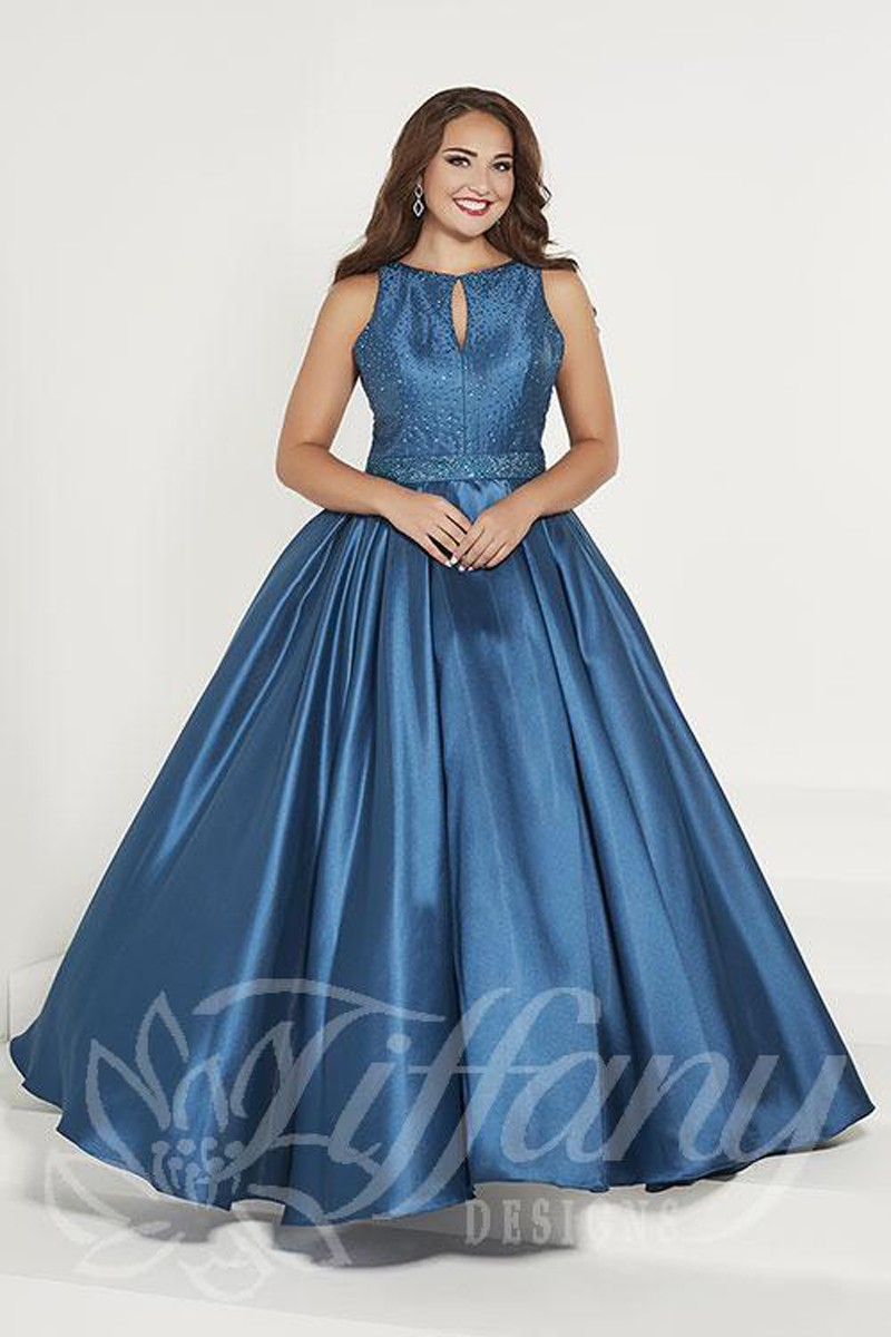 Tiffany Designs 16386 Keyhole Neck Plus Size Formal Gown