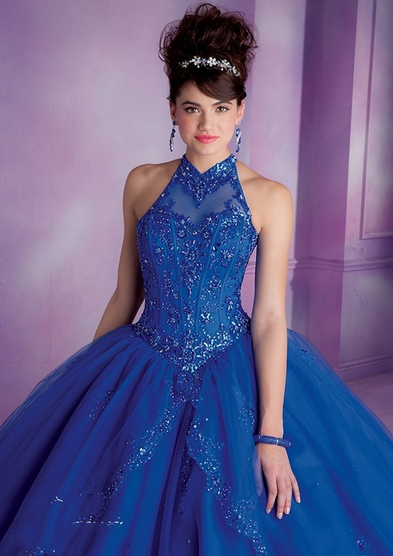 Vizcaya 89001 High V Neck Embroidered Beaded Corset Lace