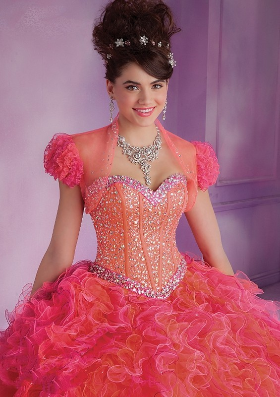 Vizcaya 89016 Curly Ruffle Two Tone Tulle Beaded Puff