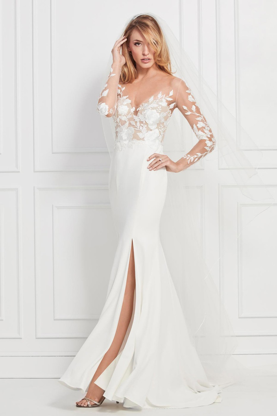 Long Sleeve Wedding Dresses.Wtoo 12701s Rylan Illusion Long Sleeve Wedding Gown