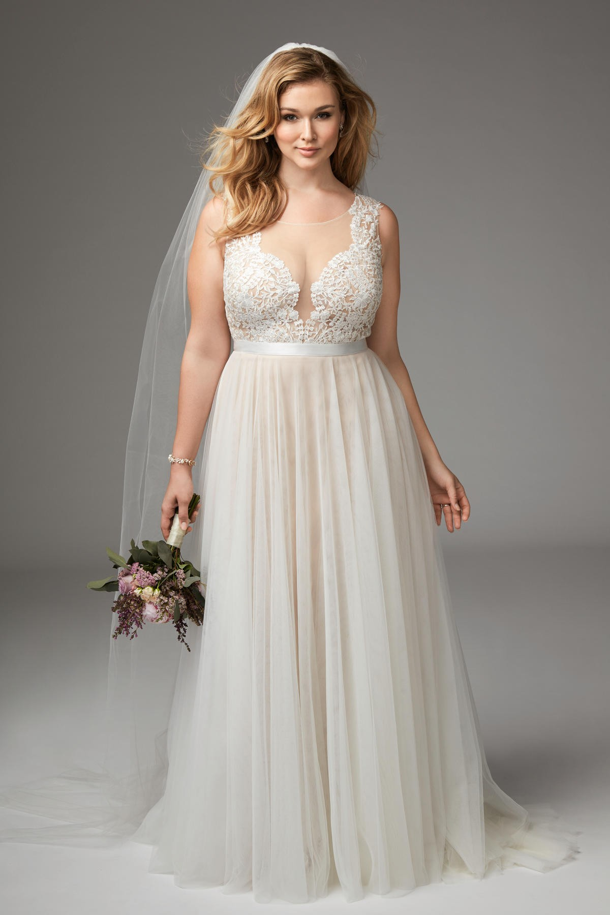 WTOO 14715 Marnie Illusion Neckline Plus Size Wedding Dress