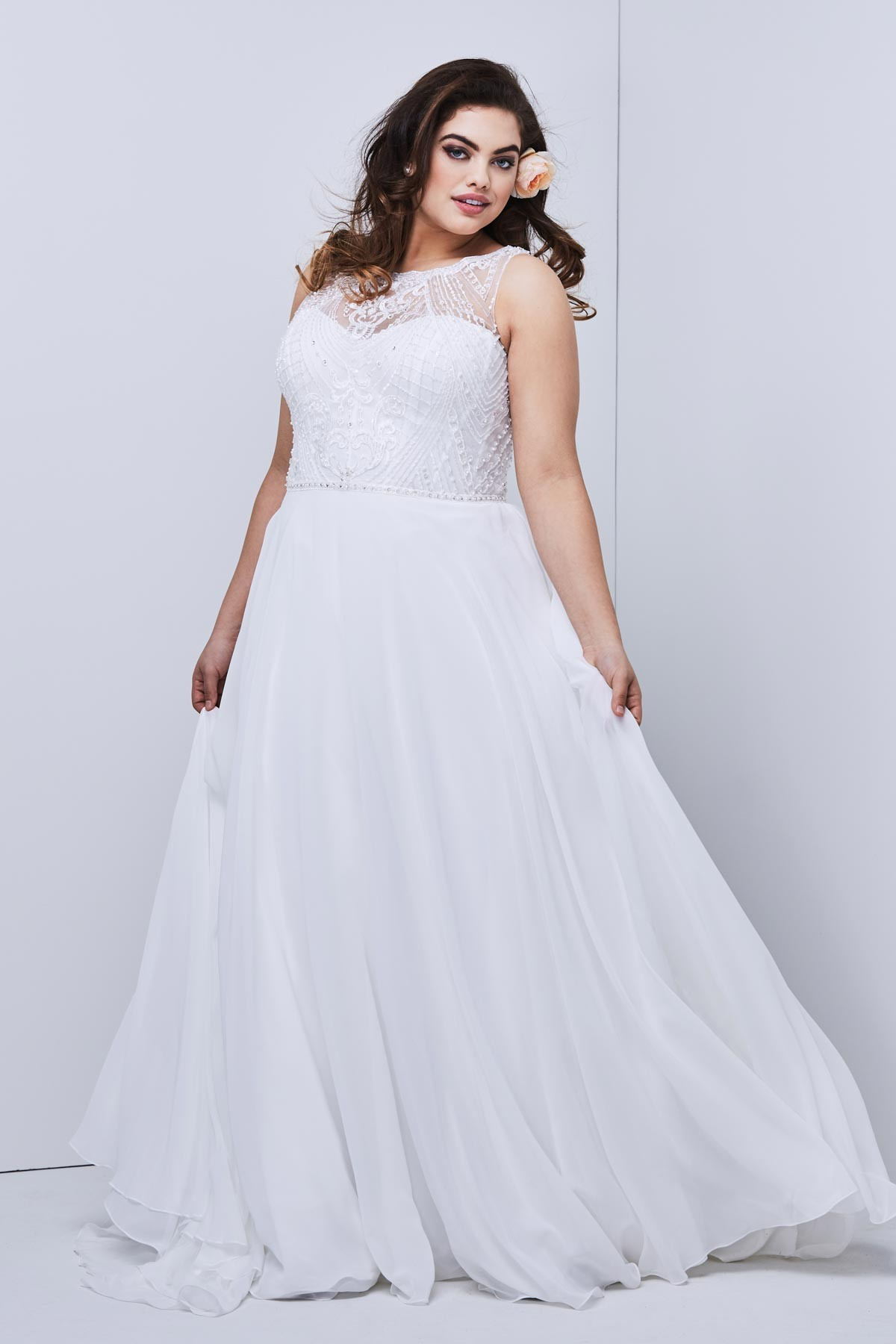 WTOO 19705 Hathaway Beaded Top Plus Size Wedding Gown
