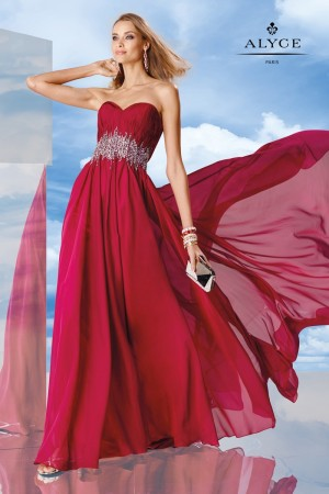 Alyce 6479 Dress Strapless Sweetheart Bodice Bejeweled Waist