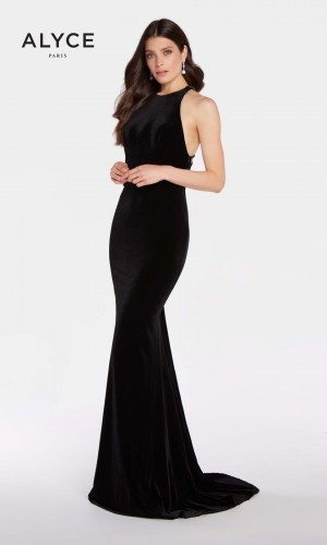 Alyce Paris 60077 Velvet Prom Gown with Sweep Train