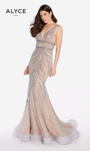 Alyce Paris 60233 Plunging V-Neck Prom Gown