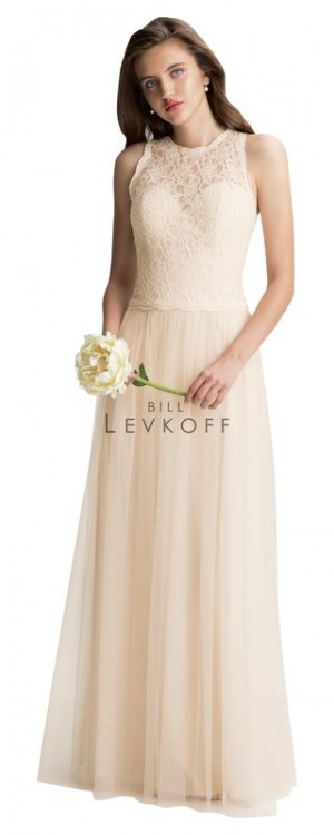 Bill Levkoff 1424 Corded Lace Jewel Neckline Bridesmaid Dress