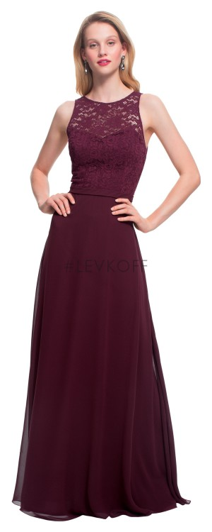 Bill Levkoff 7027 Jewel-Neck Bridesmaid Dress