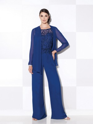 Cameron Blake 115620 Long Sleeve Cardigan Beaded Jumpsuit