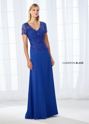 Cameron Blake 118685 Short-Sleeve Mother of Bride Dress