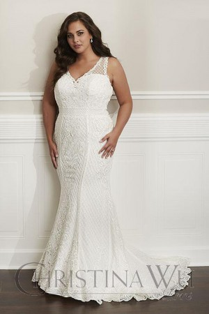 Christina Wu 29332 V Neck Plus Size Wedding Dress