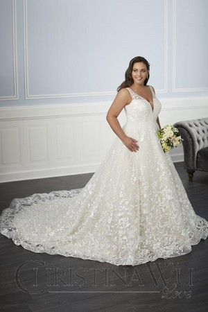 fb98cf111aaa Christina Wu 29346 Plunging V-Neck Plus Size Bridal Gown